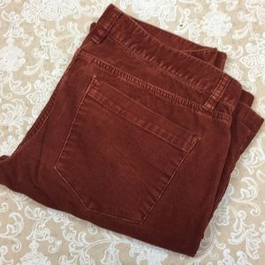 J. Crew Rusty Red Corduroy Matchstick Pants